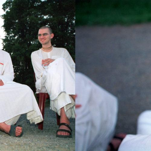 Belgie, Petite Somme 28 juli 2002 Hare Krsna zomerfestival in Petite Somme in Belgie. Hier vijf toegewijden die een workshop over Krsna bewustzijn bijwonen. Foto: Stijn Rademaker
